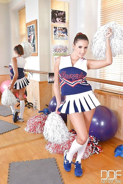 Busty young cheerleader..